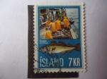 Stamps : Europe : Iceland :  Gadus Morhua - Bacalao - Industria del Pescado.