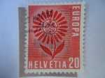 Sellos de Europa - Suiza -  Flor estilizada de 22 petalos al rededor de la insignia de CEPT - Europa C.E.P.T