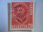 Stamps Switzerland -  Flor estilizada de 22 petalos al rededor de la insignia de CEPT - Europa C.E.P.T