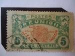 Stamps France -  Mapa de la Isla de la Reunion - Francia, Colonias y Territorios.