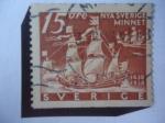 Stamps Sweden -  Nya Sverige Minnet- Nueva Manera de Suecia - Los Barcos: Colmare Myckel y Fagel Agarres - 300 Aniver