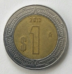 monedas del Mundo : America : México :  2013 - 1 peso