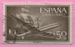 Stamps Spain -  Super constelacion y nao Santa Maria