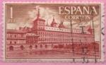 "Stamps of the world : Spain :  Real Monasterio d´SAn Lorenzo dl Escorial ""Fachada y Jardin d´los Monjes"""