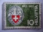 Stamps Switzerland -  Centenario de l Club Alpino Suizo,1863-1963 - Escaladores de Montaña. SAC Club.