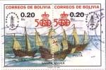Stamps America - Bolivia -  Espamer 87 La Coruña España. Las carabelas de Colon en Pareja