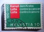 """Stamps : Europe : Switzerland :  Inscripción en tres Idiomas: """"Lucha Contra el Cáncer"""""""