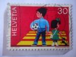 Sellos de Europa - Suiza -  Niños y Mascota en Cruce peatonal - Seguridad Vial.