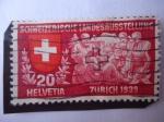 Stamps : Europe : Switzerland :  Exposición Nacional Zúrich 1930 - Los Visitantes escuchan a un Poeta.
