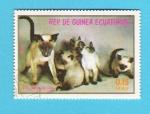 Stamps Equatorial Guinea -  GATA  SIAMESA  CON  CRIAS