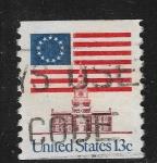 Sellos del Mundo : America : Estados_Unidos : Bandera de 1776, de la Unión Continental y Casa de la Independencia