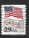 Sellos del Mundo : America : Estados_Unidos : Bandera y efigies monumentales de Monte Rushmore