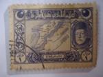 Stamps : Asia : Turkey :  Mehmed V - Mapa de Dardanelles - Serie: 1917/8 Vienna