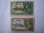 Stamps : America : Grenada :  Windsor Castle y George V.