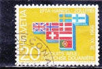 sello : Europa : Suiza : Fase de fisión nuclear y banderas de los países participantes