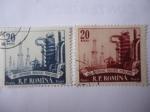 Stamps : Europe : Romania :  100 Años de la Industria Petrolera-Refinería y Torres de Perforación - 1957-Centenarul Industriei Pe