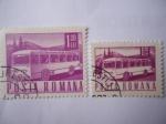 Stamps : Europe : Romania :  Motorcoach -Autobús -  Serie:Postal y Transporte.