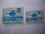Stamps : Europe : Romania :  Mil Mi-3 Helicopter - Serie: postal y transporte.