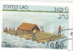 Stamps Laos -  BARCAZA