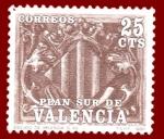 Stamps Europe - Spain -  Edifil Valencia 10 Plan Sur Escudo castaño 0,25 NUEVO