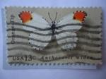 Sellos de America - Estados Unidos -  Orange Tip (Anthocharis Cardamines) Mariposa:Punta Naranja - Serie:Mariposas.