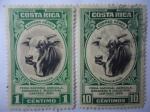 Stamps Costa Rica -  Ganadería - Feria Nacional Agricola . Ganaderia  e Industrial, Cartago 1950