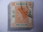 Stamps : Asia : Hong_Kong :  Queen Elizabeth II -One ollar- Serie:Queen Elizabeth II 1954/60.