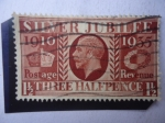 Stamps United Kingdom -  Silver Jubilee, 1910-1935 - Bodas de Plata.King George V- One Penny-Postage Revenue