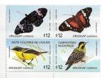Stamps America - Uruguay -  Fauna. Mariposas y aves. (Bloque de cuatro.)