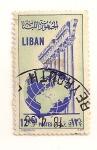 Stamps Lebanon -  Bola del mundo y columnas.