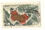 Stamps Lebanon -  Mariposa. Red admiral vulcano.