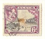 Stamps America - Jamaica -  Rey Jorge VI y paisaje.  Portland, rio Priestman.