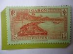 Stamps Gabon -  Balsa de Trozas de Madera en el Río Ogowe-Transporte y Comercio de la Madera.