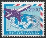Stamps Yugoslavia -  2182 - Avión y Mapamundi