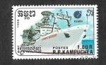 Sellos de Asia - Camboya -  863 - Barco