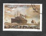 Stamps São Tomé and Príncipe -  829b - 150º Aniversario del Nacimiento de Graf Zeppelin