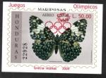 Stamps : America : Honduras :  Mariposa de galleta (Hamadryas arinome) sobreimpresa