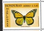 Stamps : America : Honduras :  Mariposa monarca (Danaus plexippus)