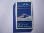 Stamps Germany -  Natación y Arcos Olímpicos - Olímpiadas de Verano, 1972-Munich