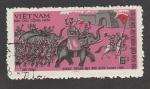 Stamps Vietnam -  Ejercito sobre elefantes
