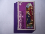Stamps New Zealand -  Anunciación - Vitrales  St. Iglesia de Luke-  Navidad 1971.