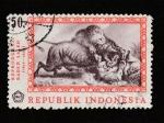 Stamps : Asia : Indonesia :  Reproducción cuadro por Raden Saleh