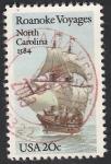 Stamps United States -  1540 - 400 Anivº del primer viaje por las islas Roanoke, velero Elizabeth