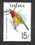 Stamps Tanzania -  980 - Malaconotidae de 4 Colores