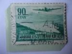 Sellos del Mundo : America : Ecuador : Avión Douglas DC-4, sobre el Lago de San Pablo - Correo Aéreo de 1954.