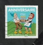 Stamps : Europe : France :  4081 - Sylvain y Sylvette, llevando una tarta