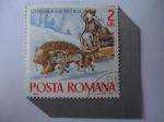 Sellos del Mundo : Europa : Rumania : Ispraville lui Pagala- Petre Dulfu (1856-1953) Escritor- Lobo y Oso Tirando de Trineo - Cuentos y Le