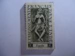 Sellos de Europa - Francia -  Apsara-Dioses- Francia,Colonias y Territorios - Serie:India. - Asentamientos Franceses en la India.