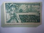 de Europa - Polonia -  Marina Mercante Polaca - Oficial con Binoculares-Fletes S.S. Kilinki