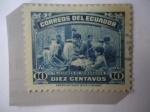 Stamps : America : Ecuador :  Tejedores de Sombreros.